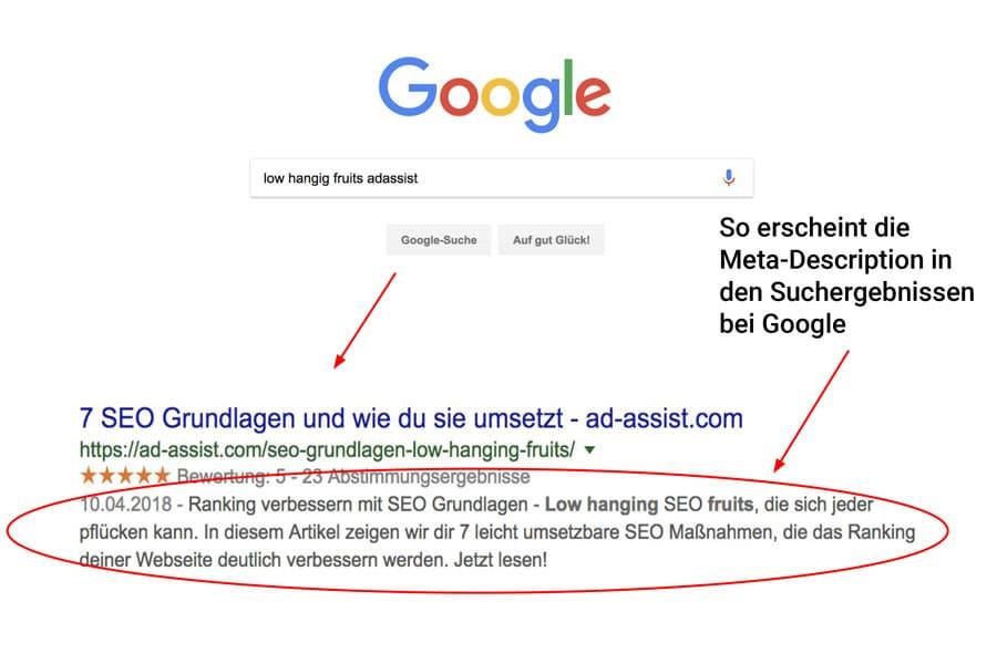 Google Suche mit Pfeil auf Meta-Description