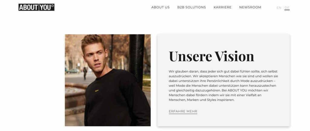 About You PR Beispiel - Conversion-Rate-Optimierung